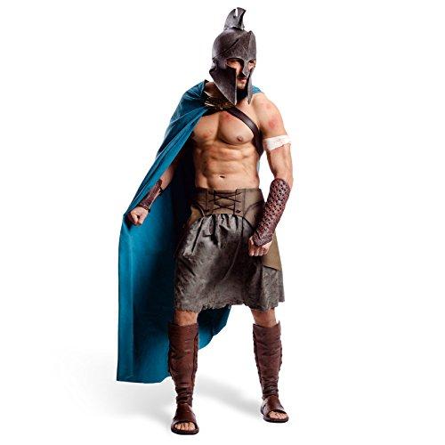 300 Themistokles Deluxe Film Kostüm Griechen Kostüm Herren 6-tlg Helm Umhang Gürtel Rock Armschienen Beinschienen - XL
