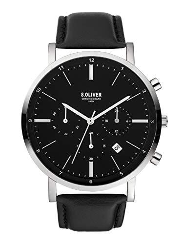 s.Oliver Herren Chronograph Quarz Uhr mit Leder Armband SO-3854-LC