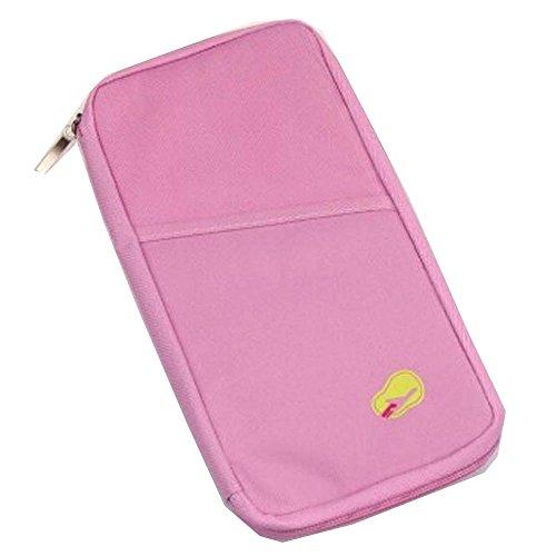 Organizador de documentos para viaje Q4travel. Resistente e impermeable. Portadocumentos, protector para pasaporte y cartera -, rosa (Rosa) - 123