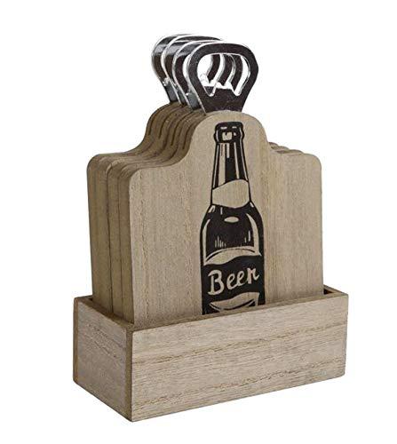 HLine Sottobicchiere in legno per bevande birra con apribottiglie in scatola