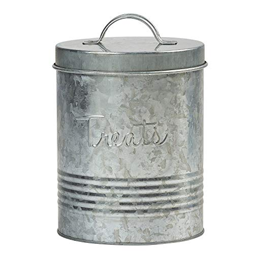 Amici Pet, , Retro Treats Galvanized Relief Lettering Metal Storage Canister, Food Safe, Push Top,...