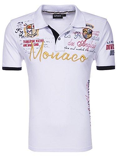 behype. Herren Kurzarm Polo-Shirt Monaco T-Shirt 20-3040 Weiß XL