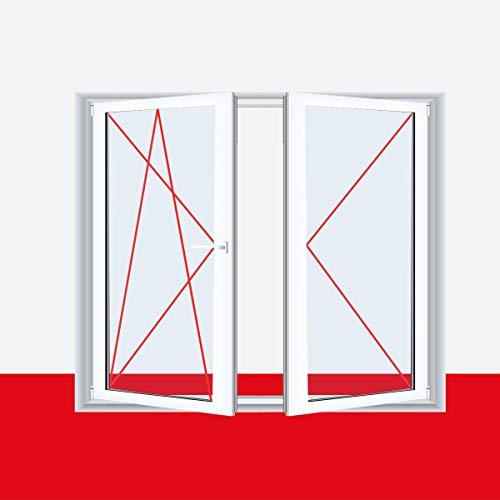 2-flügliges Kunststofffenster Weiß DL/DKR o. DKL/DR mit Stulp, Anschlag:DKL/DR, BxH:1100x1000 (110x100 cm), Glas:2-Fach