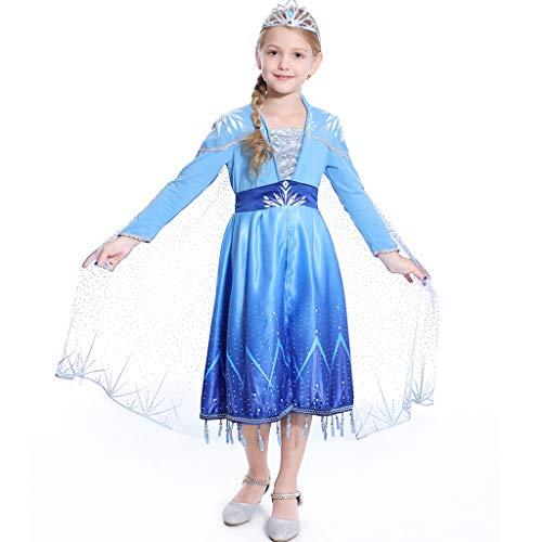 Amycute Vestido de Princesa Elsa, Princesa Frozen Elsa Disfraz de Cosplay de Disney Reino de Hielo para Navidad,Fiesta de Cumpleaños Infantil Niñas (Altura47.2-52in)
