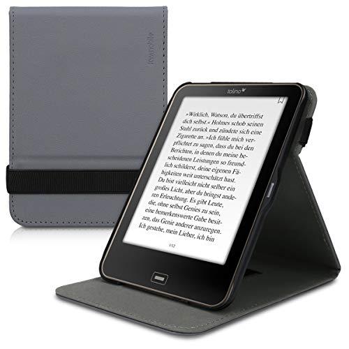 kwmobile Schutzhülle kompatibel mit Tolino Vision 1/2 / 3/4 HD - Hülle e-Reader mit Schlaufe Ständer - - Anthrazit