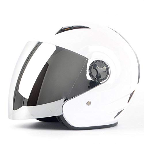 Elektrische motorhelm half overdekt schattig licht pothelm vier seizoenen warme helm-wit 【Zilveren spiegel】 Lichte, comfortabele en veilige helm_L