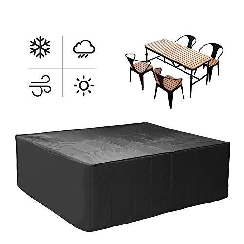 WXQIANG Gartenmöbel-Abdeckungen für Outdoor-Tisch und Stuhl, verstellbarer Kordelzug, sicher und winddicht, staubdicht, Anti-Aging-Oxford-Stoff, anpassbar, Schwarz , 200x140x90cm