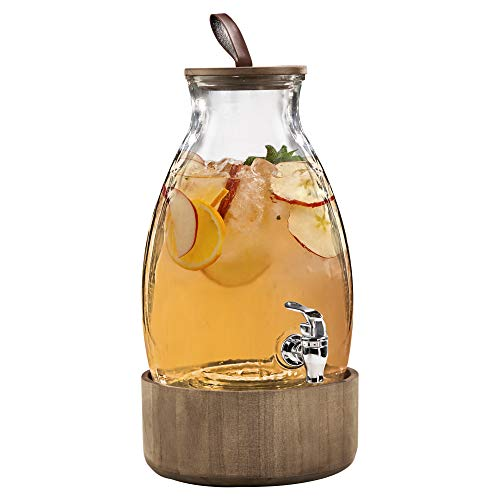 Style Setter Beverage Dispenser Cold Drink Dispenser w/ 1.4 Gallon Capacity Glass Jug, Wood Lid & Base, Leak-Proof Acrylic Spigot, Great for Parties, Weddings & More