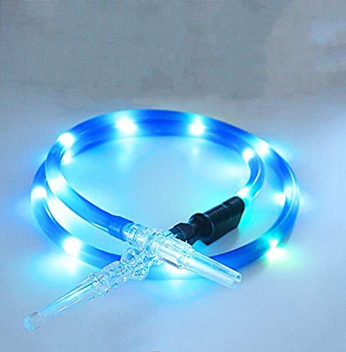 Uxiyi LED-Wasserpfeifenschlauch, 180 cm, Acryl-Lichter, arabische Wasserpfeife, Zubehör, Wasserpfeife mit LED-Lichtern, blau