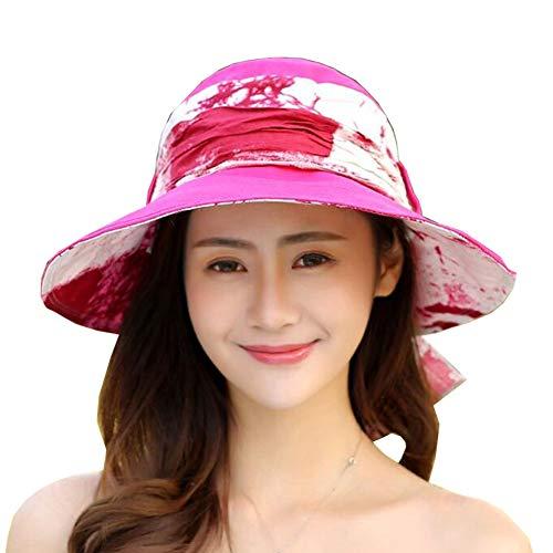 ZX-cappello Da Sole Ampia Brim Donne Pieghevole Cappello Pescatore Protezione UV Vacanza al Mare (Colore : Rosa Rossa, Dimensioni : 58cm)