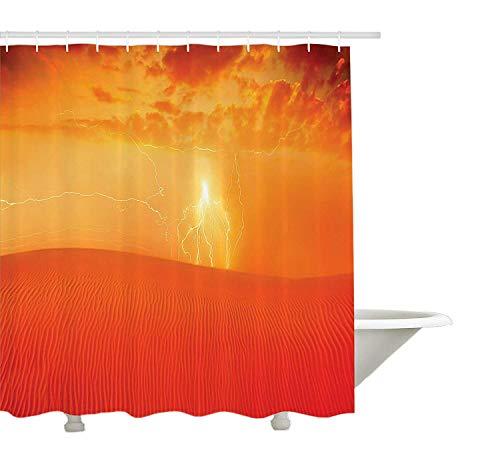 Yeuss Lake House Decor Collection,Heiße arabische Wüstenlandschaft Dramatischer Sonnenuntergang im Naturthema Sanddünenwildnis,Duschvorhang aus Polyestergewebe,Set mit Haken,Rot-Orange