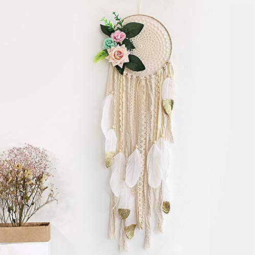 Alynsehom Dream Catcher for Kids Bedroom White and Gold Feather Dream Catchers with Flowers Wall Decor Handmade Room Hanging Wedding Decoration Crafts Gift (Beige)