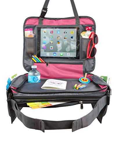 "Kids Car Seat Travel Tray Toddler Snack and Play Lap Tray Featuring Unique Fold-in ""No Need to Unload Again"" Side Pockets with Zipper by BE Family Travel (Pink)"