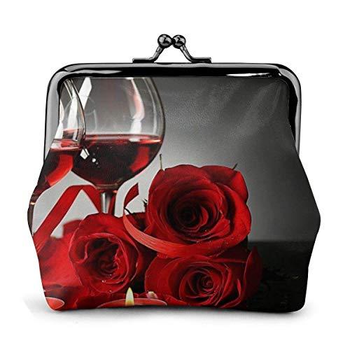 Rot-Rose Weinglas und Kerze bedruckte Damen Geldbörse Leder Münzgeldbörse Kiss-Lock Reise Make-up Geldbörsen