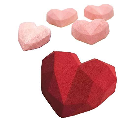 BGREN 2 pièces Art Diamant gâteau Silicone Moule 3D Mousse Moule Cuisson pâtisserie Outil pour Muffin antiadhésif-Une