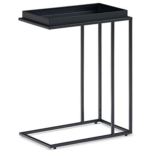 SIMPLIHOME Garner Modern Industrial 18 inch wide Metal Tray Top C Side Table in Black, for the Living Room and Bedroom