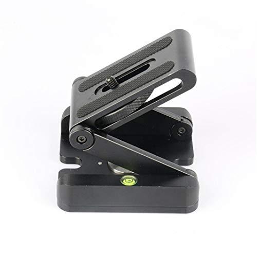 ZHDXW Cabeza de trípode en forma de Z, placa de liberación plegable, cabeza inclinada, trípode de cabeza de bola para trípode monopié, estabilizador de carril deslizante, videocámaras, color negro