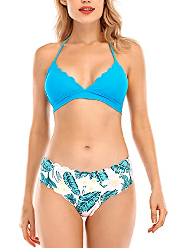 CMTOP Bikini Mujer Conjuntos Sexy Tanga Mujer Playa Ropa de Baño Traje de Baño Bañador Tops y Braguitas Verano Traje de Baño Conjunto Bañador Halter (Azul Claro, M)