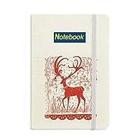 漫画の鹿の動物の赤い紙を切る ノートブッククラシックジャーナル日記A 5