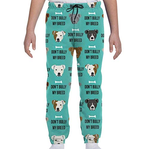 Yesbnow Teenager Jungen Mädchen Jogginghose Jogging Bottom Sport oder Loungewear Hose, Pitbull Love Dog Breed Fabric Teal