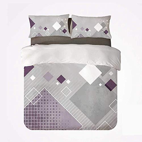 Composición geométrica abstracta con diferentes cuadrados de colores Rayas rombo punteado decorativo,Juego de ropa de cama con funda nórdica de microfibra y 2 funda de almohada - 240 x 260 cm