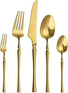 Ensemble d'ustensiles de cuisine, Ensemble d'argenterie Ensemble d'argenterie, 20 pièces Pure Gold Couverts en acier inoxy...