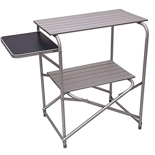 ZHAOJ Mesas Auxiliares Desplegables Extra De Aluminio Mesa De Camping Plegable, Mesas Portátiles De Doble Capa para Picnic, Playa, Patio Trasero