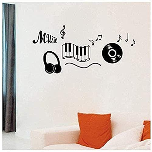 Adhesivo De Pared Vinilo Calcomanía De Pared Decoración Música Auriculares Tema Musical Dormitorio Notas De Baile 56 * 119 Cm