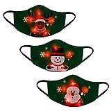 Hanomes Erwachsene Mund Und Nasenschutz Weihnachten LED Licht 3D Druck Mundschutz mit Lustig Motiv Waschbar Bandana Multifunktionstuch Mehrweg Atmungsaktiv Staubdicht Halstuch