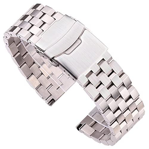 LJGYX Correa Pulsera de Correa de Reloj de Acero Inoxidable sólido 18 mm 20 mm 22 mm 24 mm de Plata Reloj de Reloj de Metal Cepillado de Plata Mujeres Hombres Relojes Accesorios Durable y Hermoso.