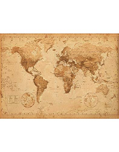 GB Eye Ltd, World Map, Antique Style, Poster Gigante (100 x 140 cm)