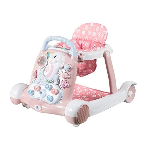 Andador de bebe Baby Walker Música antivuelco 6/7-18 Meses Baby Hand Push Can Sentador Multifuncional para niños FANJIANI