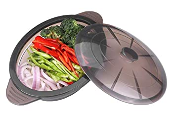 Microwave Steamer Collapsible Bowl-Silicone Steamer with Handle & Lid for Meal Prep with Detachable Partition Easy to Store BPA Free,Microwave Cookware Freezer & Dishwasher Safe Black