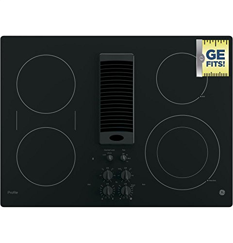 "GE PP9830DJBB Profile Series Electric Cooktop with 4 Burners and 3-Speed Downdraft Exhaust System, 30"", Black 5 9""/6"" Power Boil element: Use different pan sizes on this single, 3, 000-watt flexible element that produces rapid powerful heat. Bridge Element: Combines cooking elements into one cooking area. Control lock capability: Protects against unintended activation."