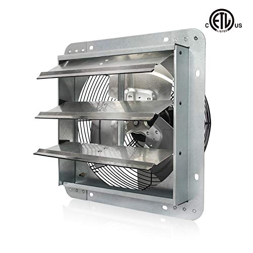 JPOWER 12 Inch High Speed Automatic Aluminum Shutter Exhaust Fan Wall Mounted 1800CFM for Residential or Commercial Ventilation,Upgraded Version,ETL Safety Listed 5 Years Warranty