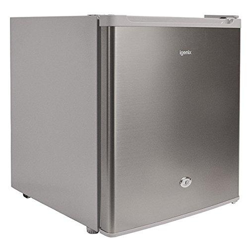 Igenix IG6711 Table Top Fridge with 47 Litre Capacity, 4 Litre Freezer Compartment, 1 Shelf, Reversible and Lockable Door, Stainless Steel