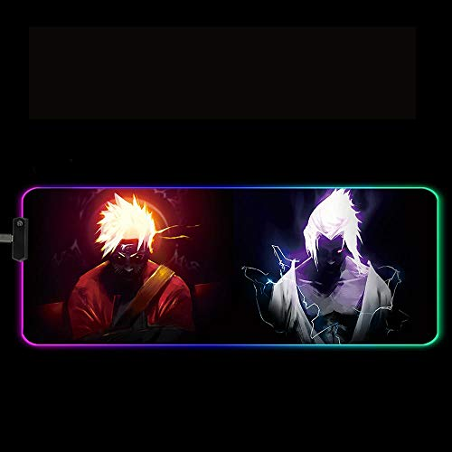 Anime XXL RGB Gaming Mousepad with 14 Lighting Modes for Large Computer Mouse Pad Keyboard LED Desk Mat 35.4x11.8 inches