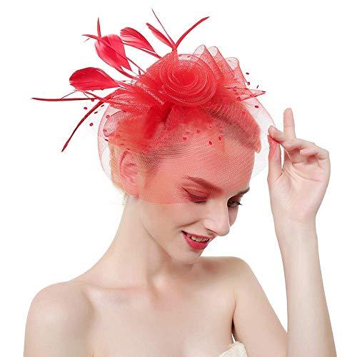 Onefeart Mesh Haarschmuck Clips für Frauen Feder Net Hut Hochzeit die Haarspange Damen Blume Faszinator Braut Haarschmuck Rot