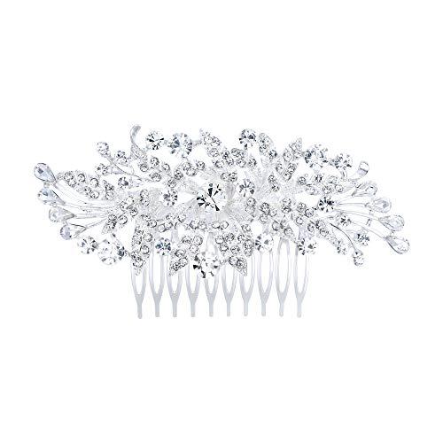 EVER FAITH Damen Haarkamm Österreichischer Kristall Simulierte Perle Hochzeit Blume Blatt Braut Haar Schmuck Klar Silber-Ton (stil5)