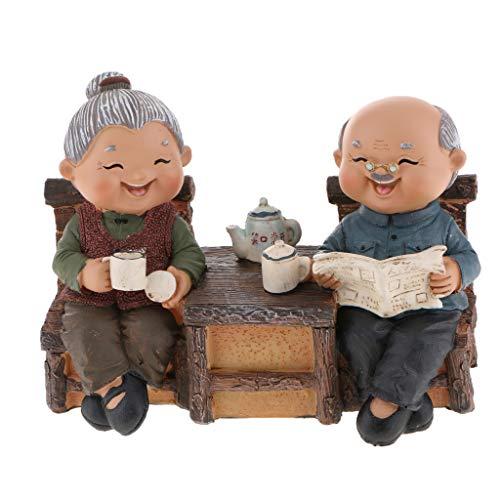 Mann und Frau Oma Opa Ehepaare Figur Dekoration Geschenk - 05 Zeitungen lesen
