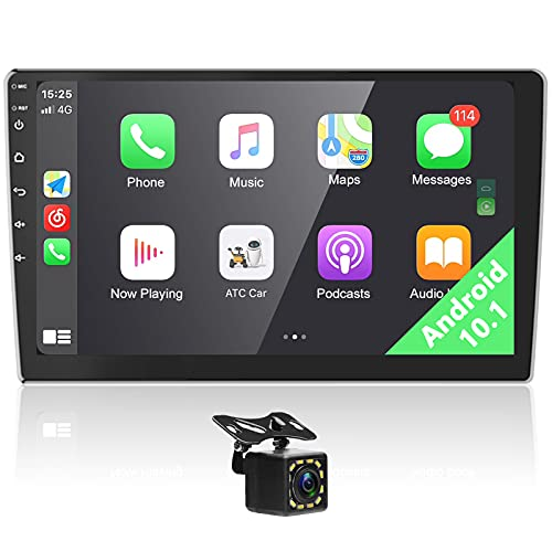 Android Radio de Coche 2 DIN Pantalla táctil de 10 Pulgadas con Carplay inalámbrico y AndroidAuto, Reproductor Multimedia Digital con Bluetooth GPS WiFi Radio FM RDS USB + Cámara de visión Trasera