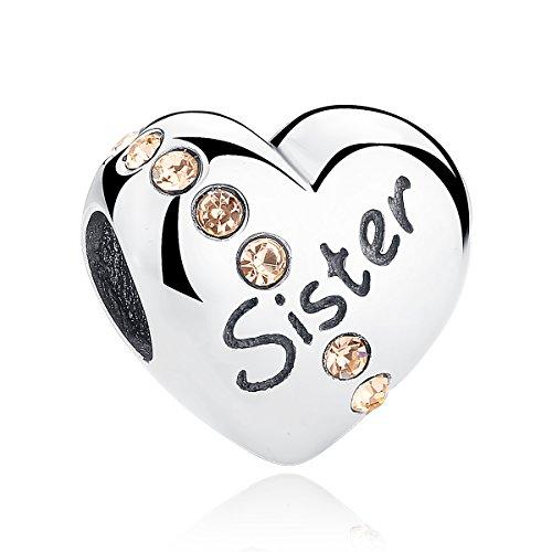 Abalorio de plata de ley 925 con forma de corazón y texto en inglés «Sister» para pulseras europeas y