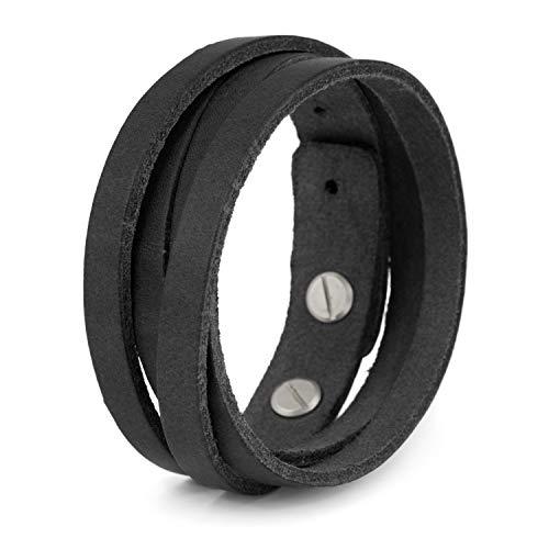 SIMARU Lederarmband Herren aus Premium Leder Made in Germany, Männer Armband größenverstellbar in schwarz, braun oder hellbraun (schwarz)