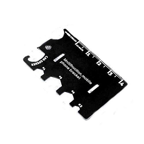 ARLT Multifuncional 3In1 Titular de teléfono móvil Soporte EDC Mini Cuchillo Cuchillo Plegable Teléfono Soporte Botella Abrelajera Kits de Herramientas Camping Cocina (Color : Black)