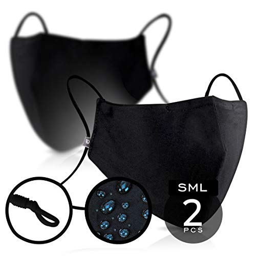 Black Cotton Mouth & Nose Cover – Pack of 2 - FITS MOST ADULTS – Waterproof & Swiss SG Tech on USA Satin Cotton with Nose Bridge, Adjustable Strap, Washable & Reusable 50x for both Men & Women