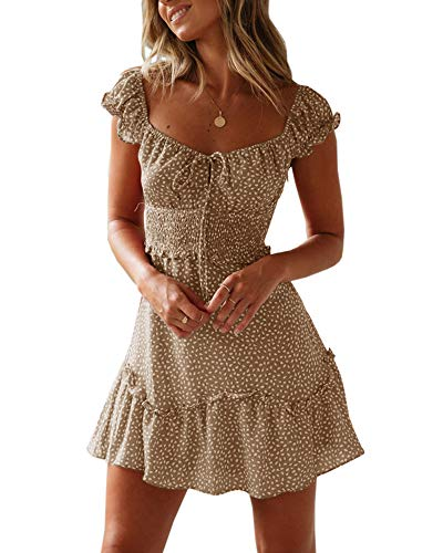 Ybenlover Damen Blumen Sommerkleid High Waist Volant Kleid Vintage Minikleid Strandkleid, Khaki, M