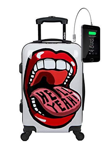 Maleta de Cabina Equipaje de Mano 55x35x20 Maleta Juvenil Trolley de Viaje Ryanair Easyjet Maleta de Viaje Rígida Big Mouth (Preparada para Cargar Móviles) TOKYOTO Luggage (Maleta + Cargador)