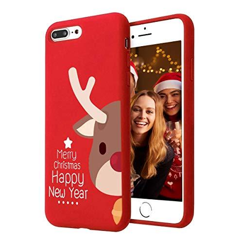 Yoedge Cover iPhone 7 Plus / 8 Plus, Sottile Antiurto Custodia Rosso Silicone TPU con Disegni Pattern Ultra Slim 360 Protective Bumper Case per iPhone 7 Plus / 8 Plus, Cervo bruno