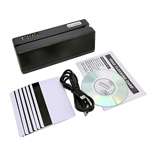 SZTW909 USB Credit Card Reader Magnetic Stripe Card Reader Writer with 3 Tracks, for Credit Card, Debit Card, Gift Card, Club Membership Card All Magnetic Swipe Card with 10 Blank Cards