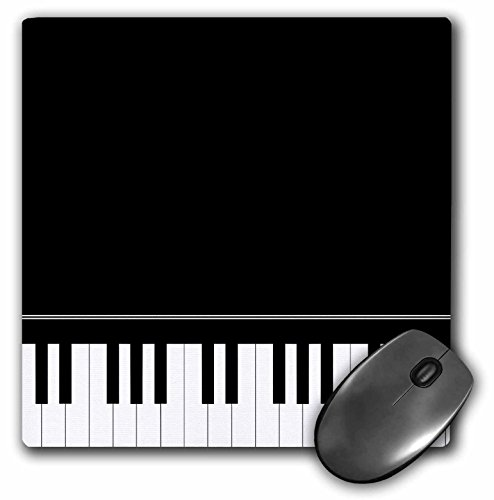 3dRose LLC 8 x 8 x 0.25 Inches Mouse Pad, Black Piano Edge Baby Grand Keyboard Music Design for Pianist Musical Player and Musician Gifts (mp_112947_1)